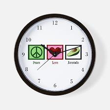 Peace Love Avocado Wall Clock