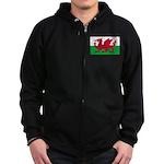 Welsh Flag Zip Hoodie (dark)