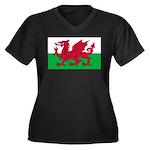 Welsh Flag Women's Plus Size V-Neck Dark T-Shirt