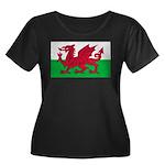 Welsh Flag Women's Plus Size Scoop Neck Dark T-Shi