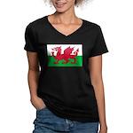 Welsh Flag Women's V-Neck Dark T-Shirt