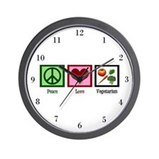 Peace Love Vegetarian Wall Clock