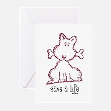 dog & bone Greeting Cards (Pk of 20)