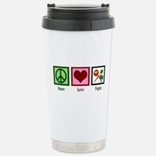 Peace Love Vegan Stainless Steel Travel Mug