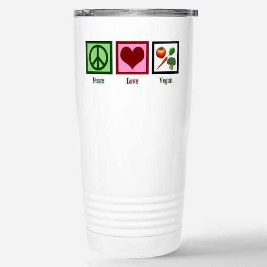Peace Love Vegan Stainless Steel Travel Mug