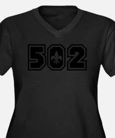 502 Black Women's Plus Size V-Neck Dark T-Shirt