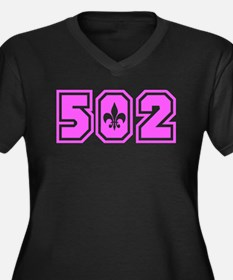 502 Pink Women's Plus Size V-Neck Dark T-Shirt