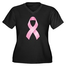 Pink Ribbon Breast Cancer Women's Plus Size V-Neck