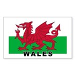 Welsh Flag (labeled) Sticker (Rectangle)