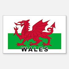 Welsh Flag (labeled) Sticker (Rectangle)