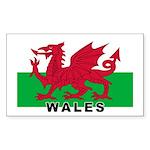 Welsh Flag (labeled) Sticker (Rectangle 50 pk)