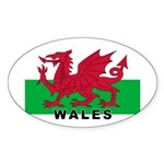 Welsh Flag (labeled) Sticker (Oval 10 pk)