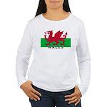 Welsh Flag (labeled) Women's Long Sleeve T-Shirt