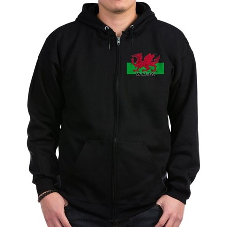Welsh Flag (labeled) Zip Hoodie (dark)
