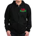 Welsh Flag (labeled) Zip Hoodie (dark)