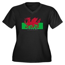 Welsh Flag (labeled) Women's Plus Size V-Neck Dark