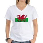 Welsh Flag (labeled) Women's V-Neck T-Shirt