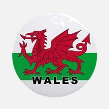 Welsh Flag (labeled) Ornament (Round)