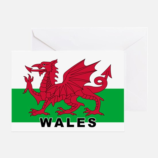 Welsh Flag (labeled) Greeting Card