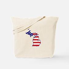 MI USA Flag Map 1 Tote Bag