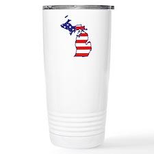 MI USA Flag Map 1 Travel Mug