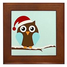 Holiday Owl Framed Tile