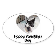 HAPPY VALENTINES DAY (BOSTON TERRIER) Sticker (Ova