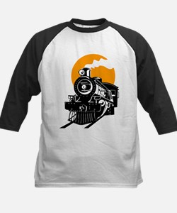 Steam train with sun Baseball Jersey