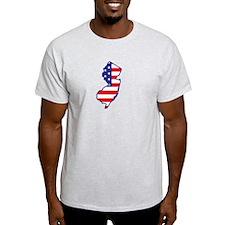 NJ USA Flag Map 1 T-Shirt