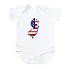 NJ USA Flag Map 1 Infant Bodysuit
