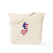 NJ USA Flag Map 1 Tote Bag