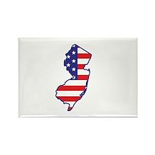 NJ USA Flag Map 1 Rectangle Magnet