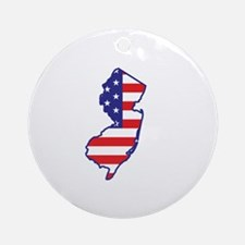NJ USA Flag Map 1 Ornament (Round)