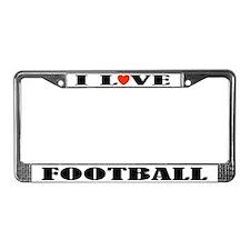 I Love Football License Plate Frame