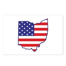OH USA Flag Map 1 Postcards (Package of 8)