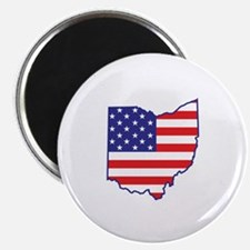 "OH USA Flag Map 1 2.25"" Magnet (10 pack)"