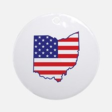 OH USA Flag Map 1 Ornament (Round)