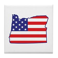 OR USA Flag Map 1 Tile Coaster