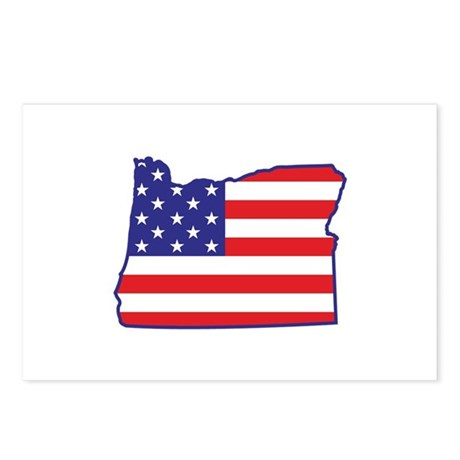 OR USA Flag Map 1 Postcards (Package of 8)