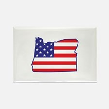 OR USA Flag Map 1 Rectangle Magnet