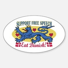 Support Denmark Free Speech Oval Decal