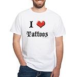 I Love (Heart) Tattoos White T-Shirt