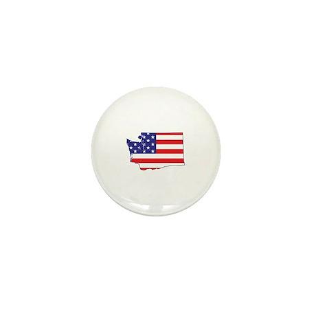 WA USA Flag Map 1 Mini Button (10 pack)