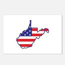 WV USA Flag Map 1 Postcards (Package of 8)
