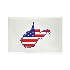 WV USA Flag Map 1 Rectangle Magnet