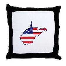 WV USA Flag Map 1 Throw Pillow
