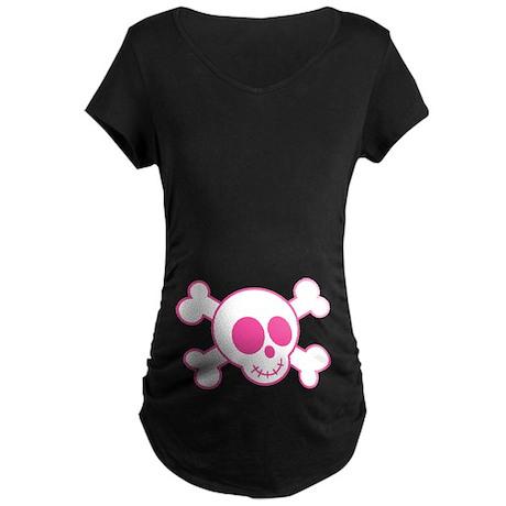 Funny Pink Skull Halloween Maternity T-Shirt