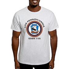 USS Pennsylvania SSBN 735 Ash Grey T-Shirt