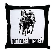 Racehorses Throw Pillow