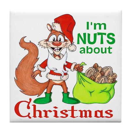 Santa Squirrel Tile Coaster